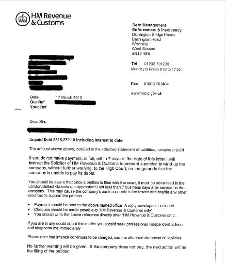 Hmrc Seven Day Warning Letter Of Distraint Or A Petition